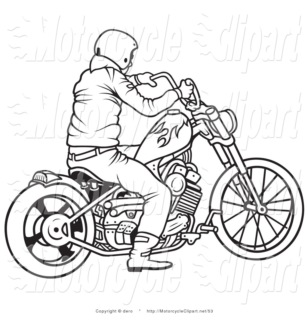 Transportation Clipart Of A Black And White Picture Of A Motorcycle