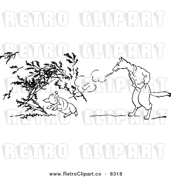 Vector Clipart Of A Retro Black And White Big Bad Wolf Blowing Down A