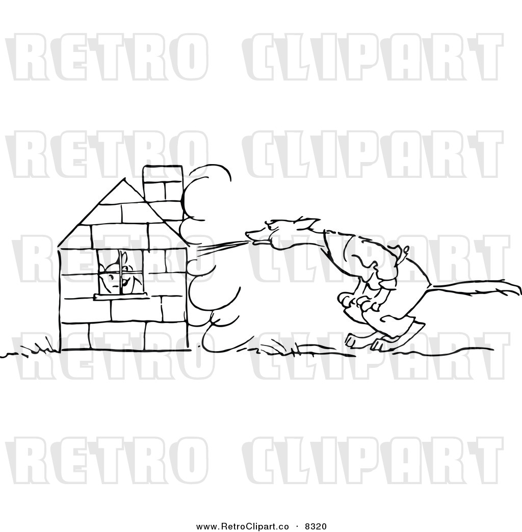 Vector Clipart Of A Retro Black And White Big Bad Wolf Trying To Blow