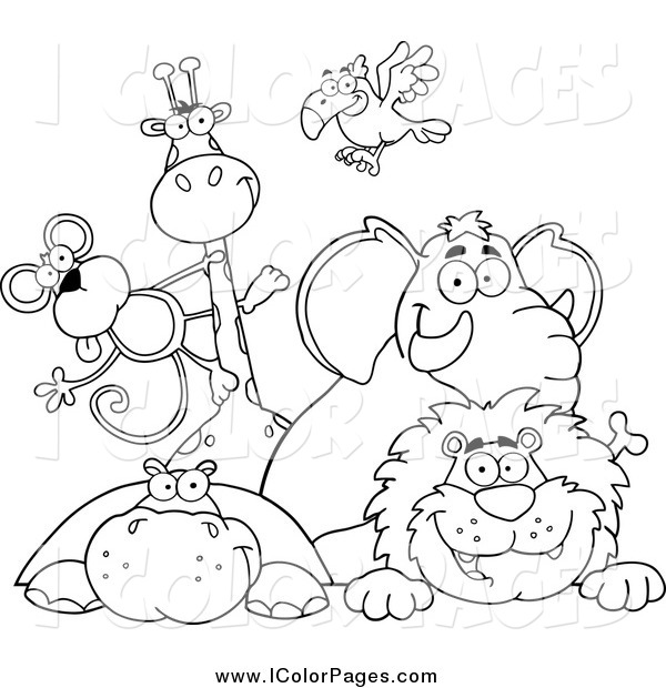 Vector Coloring Page Of Black And White Zoo Animals Over A Sign By Hit