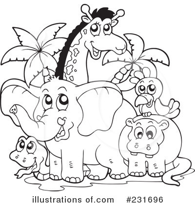 Zoo Animals Black And White Clipart