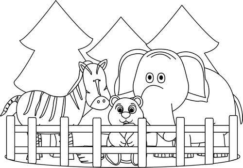 Zoo Clip Art Black And White Pictures