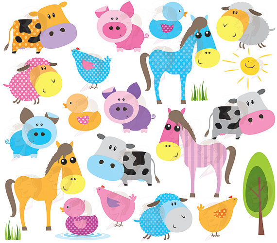 Clip Art Cute Animal Clipart cute farm animals clipart kid baby animal bright colors horse pig
