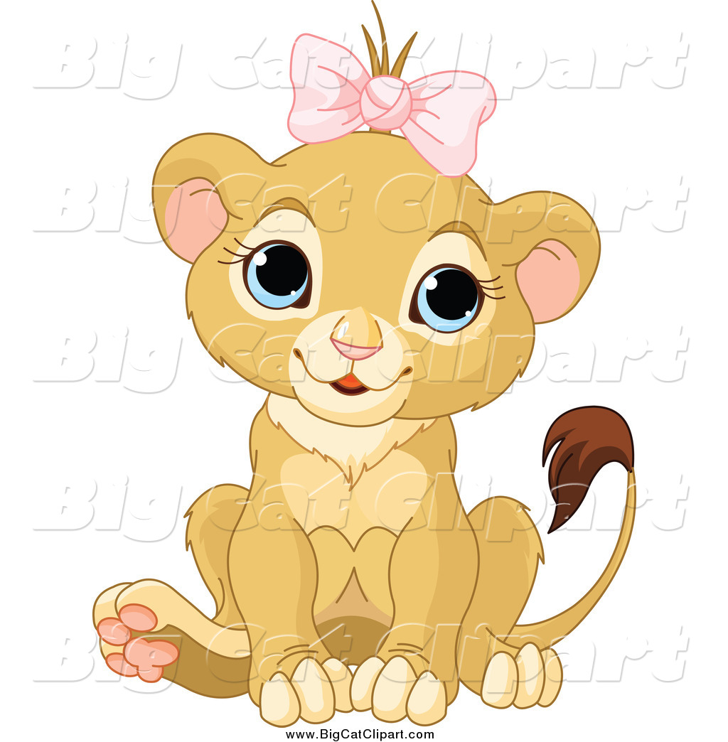 Big Cat Cartoon Vector Clipart Of A Cute Baby Female Lion Wearing A