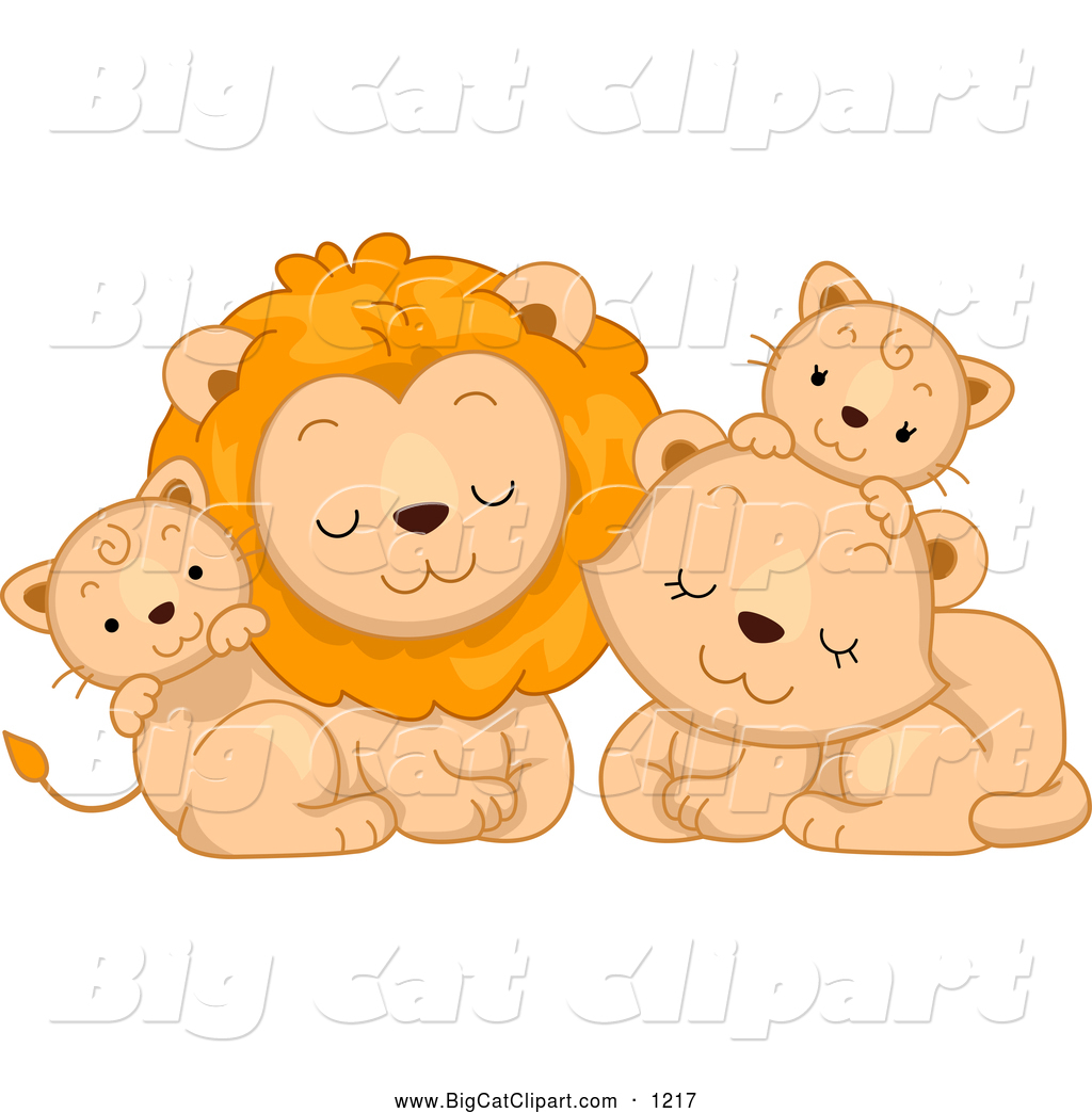 Big Cat Cartoon Vector Clipart Of A Cute Lion Family Cuddling By Bnp