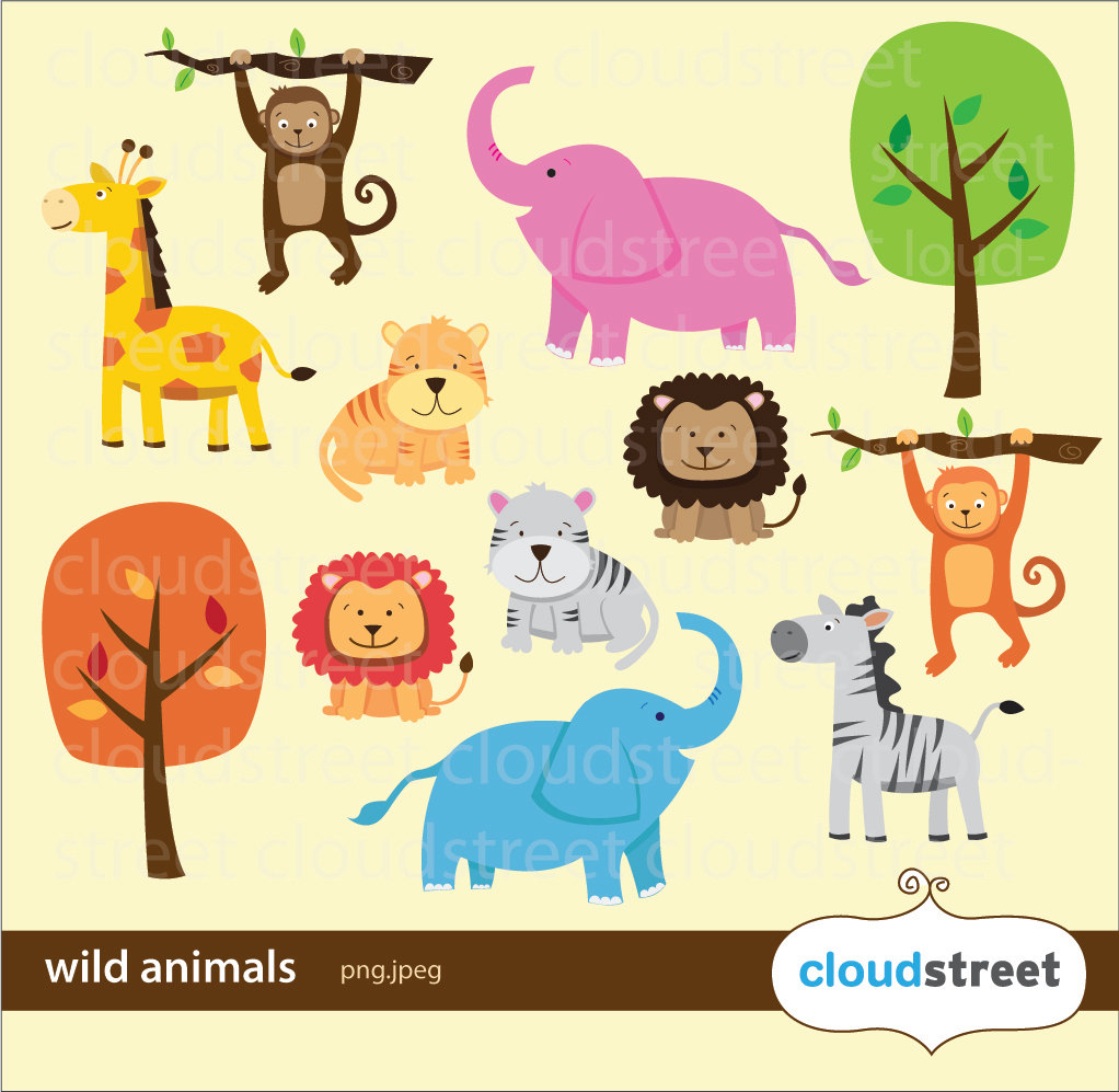 Cute wild animals clipart