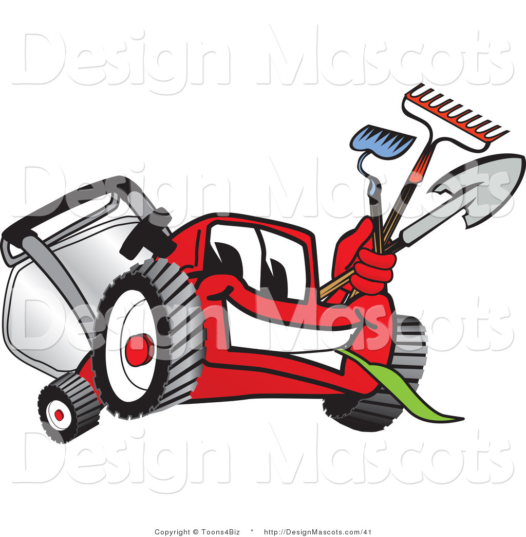 Clipart Of A Red Lawn Mower Mascot   Royalty Free By Toons4biz    41