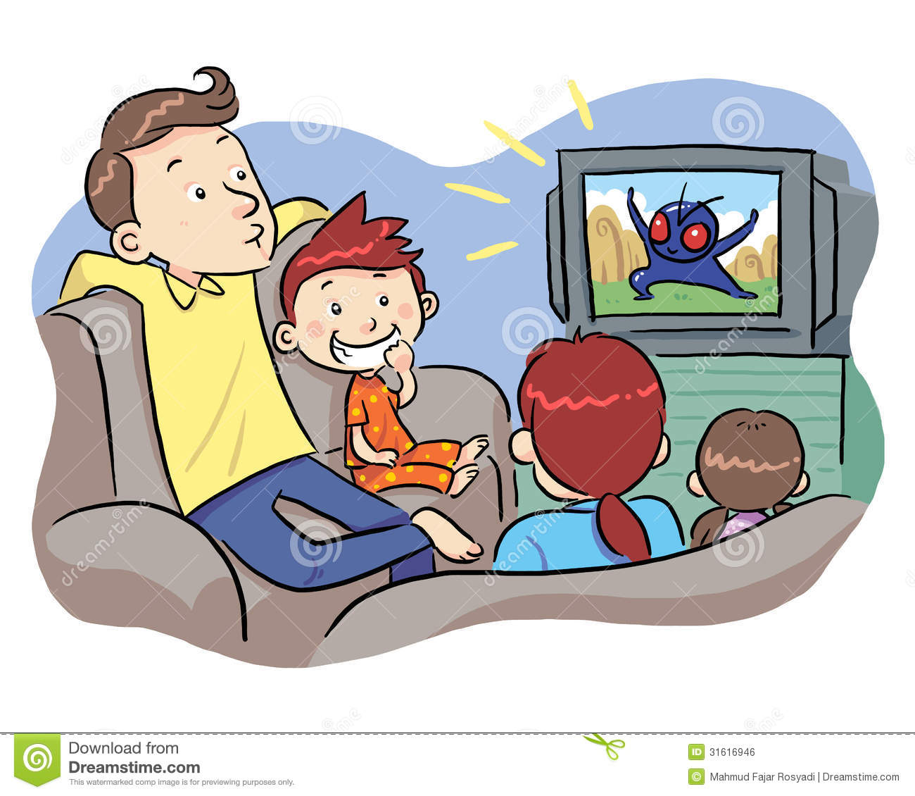 Family Watching Tv Clipart Images   Pictures   Becuo