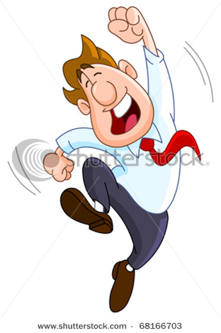 Happy Businessman Doing A Dance   Vector Clipart Illustration