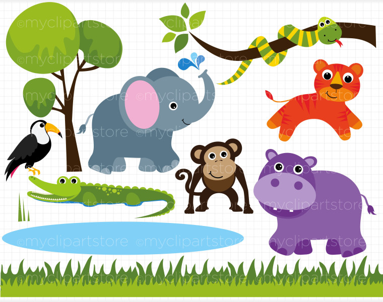 Home   Animals   Bugs   Clip Art   Savannah Zoo Animals