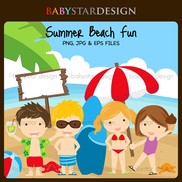Home Clipart Sets Summer Beach Fun