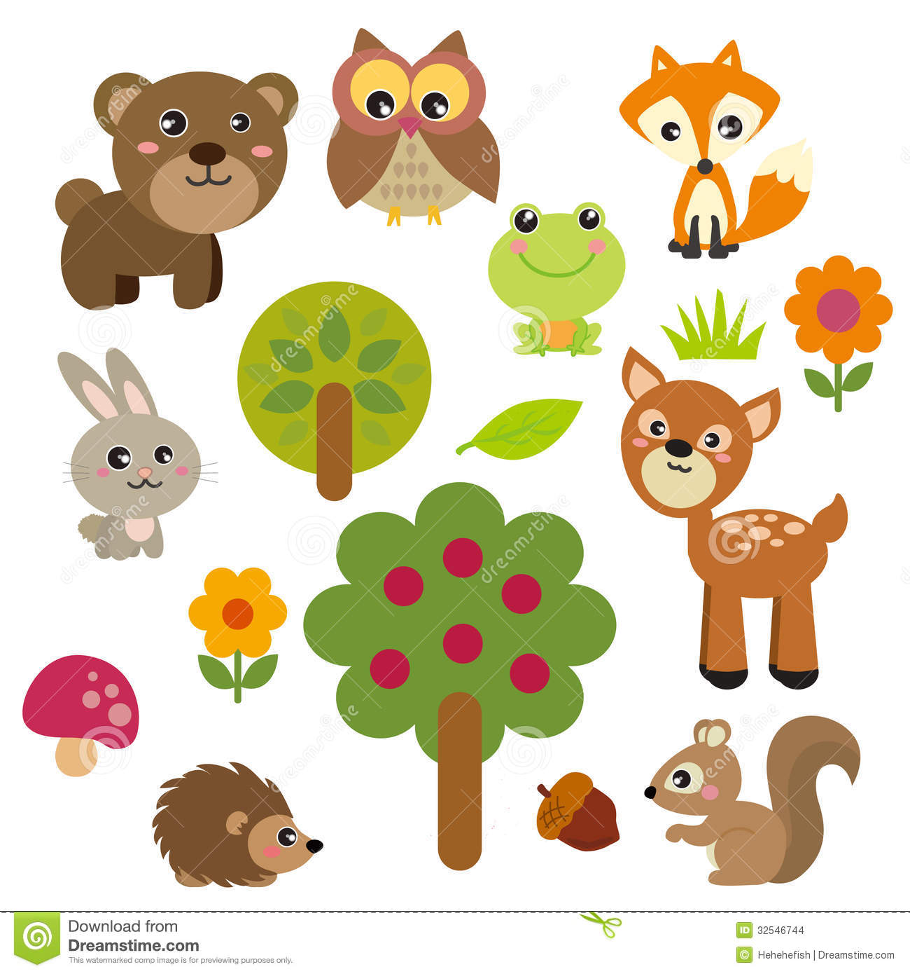 Realistic Woodland Animals Clipart