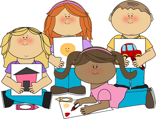 School Kids Coloring Clip Art Image   Group Of School Kids Coloring