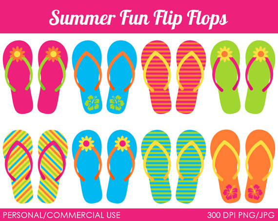 Summer Fun Flip Flops Clipart   Digital Clip Art Graphics For Personal