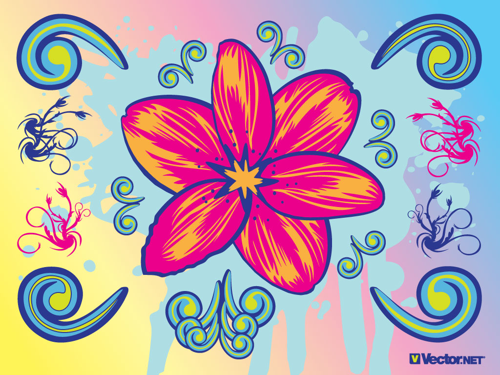This Flower Graphic With Cool Clip Art Elements A Beautiful Design