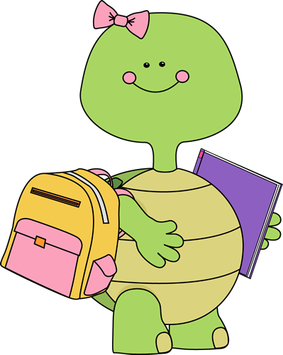 Turtle Going To School Clip Art Image   Girl Turtle Going To School
