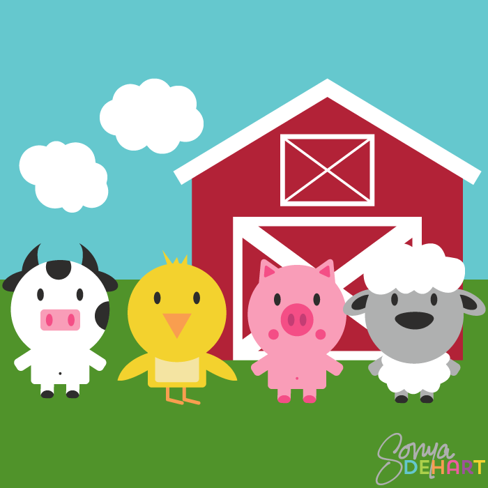 Vector Clip Art Farm Animal Set