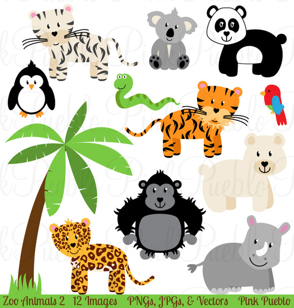 Zoo Jungle Animals Clipart   Vectors   Illustrations On Creative