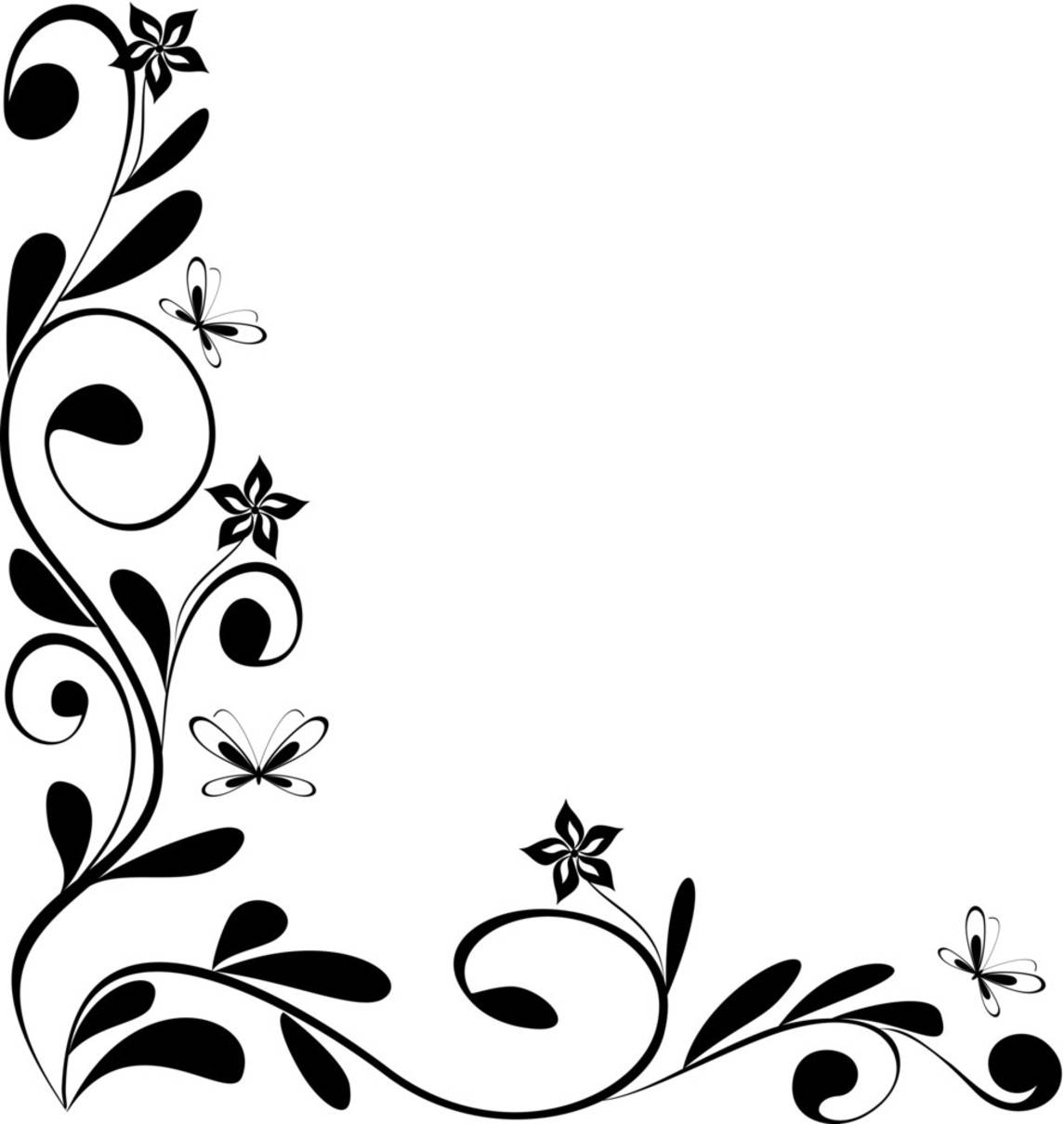 Best And Beautiful Black White Floral Corner Borders For Frames