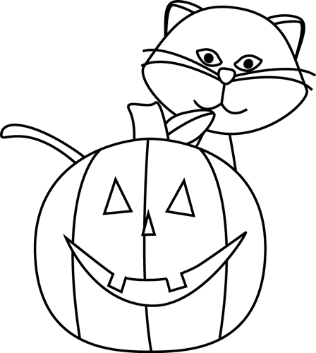 Black And White Cat And Jack O Lantern Clip Art   Black And White Cat