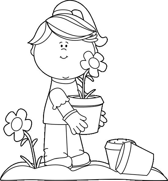 Black And White Girl Planting Flowers Clip Art   Black And White Girl