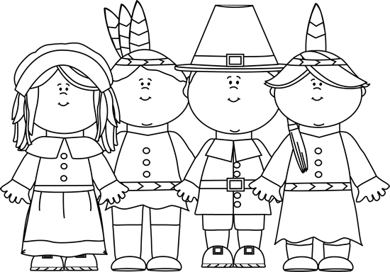 Black And White Indians And Pilgrims Clip Art   Black And White