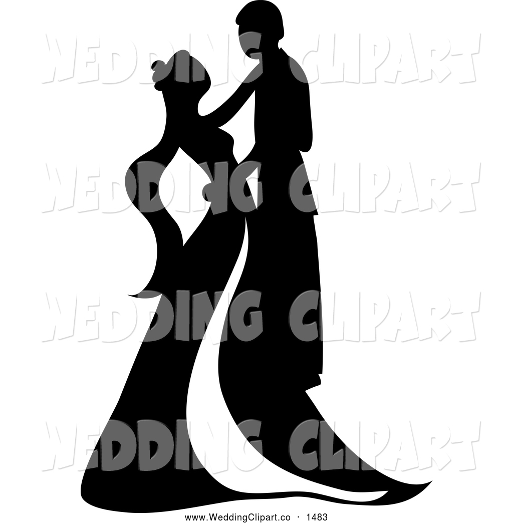 Black And White Silhouetted Wedding Couple Embracing And Dancing