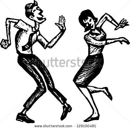 Black And White Vector Illustration Of A Couple Dancing 129100481 Jpg