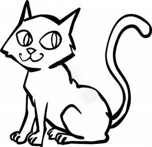 Cat Clip Art Black And White A Black And White Cartoon Cat With Spooky