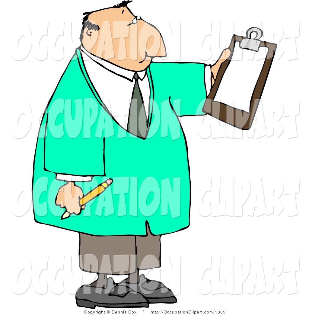 Clip Art Of A Male Doctor Reading Checklist On Clipboard And Holding A