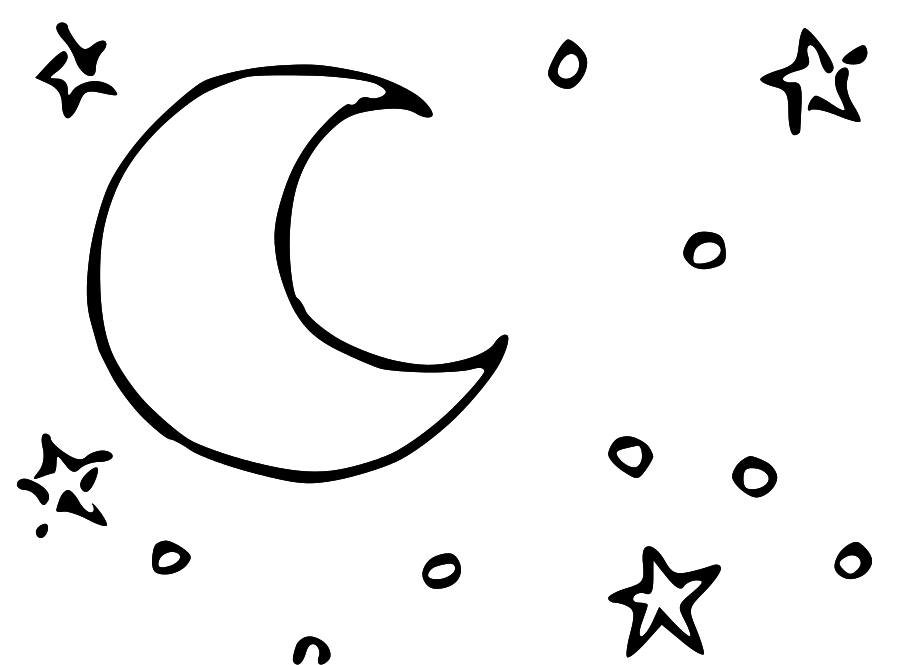Moon And Stars Black And White Clipart - Clipart Suggest