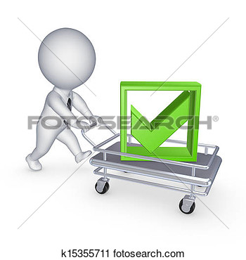 Clipart   3d Person With Pushcart   Fotosearch   Search Clip Art