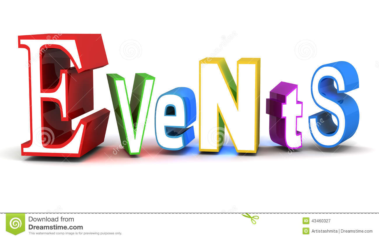 Events Word Related To Event Management Concept White Background