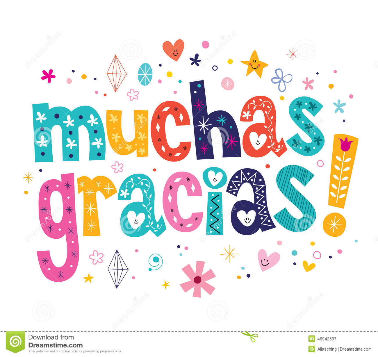 Muchas Gracias Many Thanks In Spanish Card Stock Vector   Image