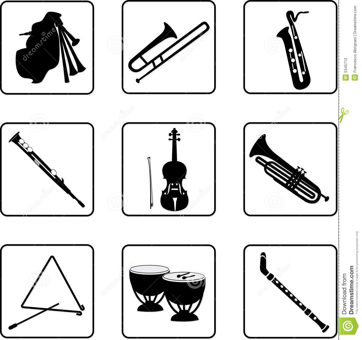 music instruments clipart black and white - photo #23