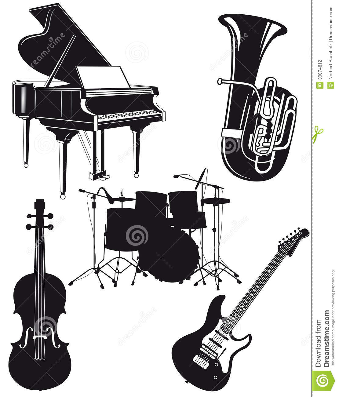 Of Black Orchestral And Musical Instruments On A White Background