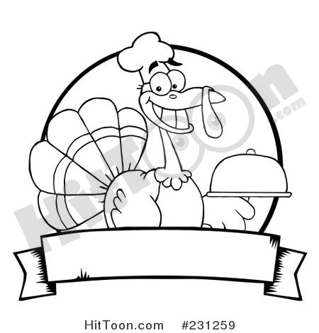Rf Clipart Illustration Of A Black And White Outline Of A Thanksgiving
