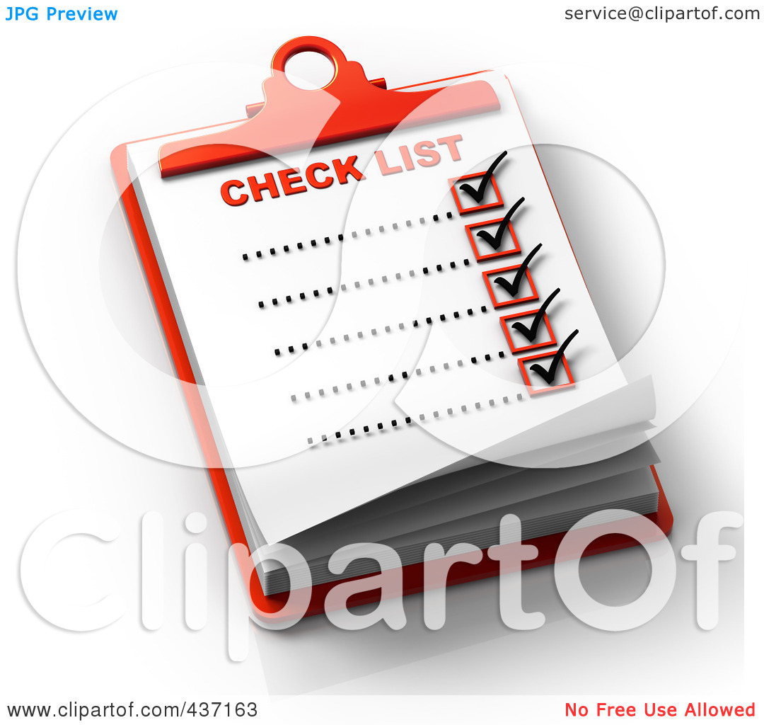 Royalty Free Vector Clip Art Illustration Of A 3d Check List Over A