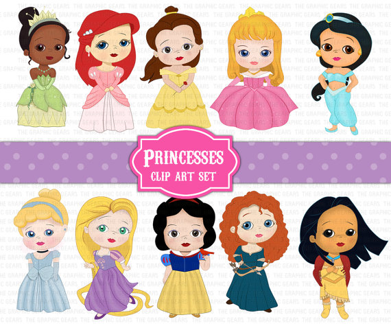 Set Disney Princesses Clipart   10 Pieces Rapunzel Tiana Snow White
