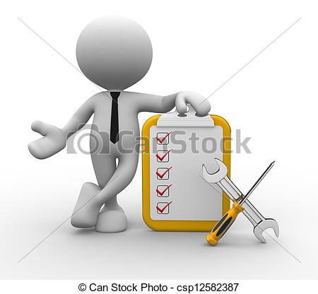 Stock Illustration Of Tools   3d Person With Checklist And Tools