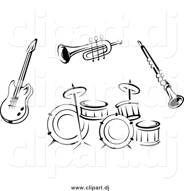 Vector Clipart Of Black And White Musical Instruments 2 By Seamartini