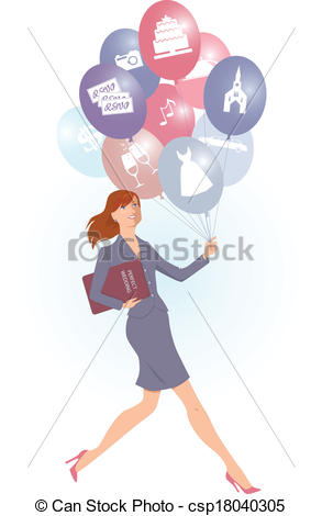 Vector Clipart Of Wedding Planner   Energetic Female Wedding Planner