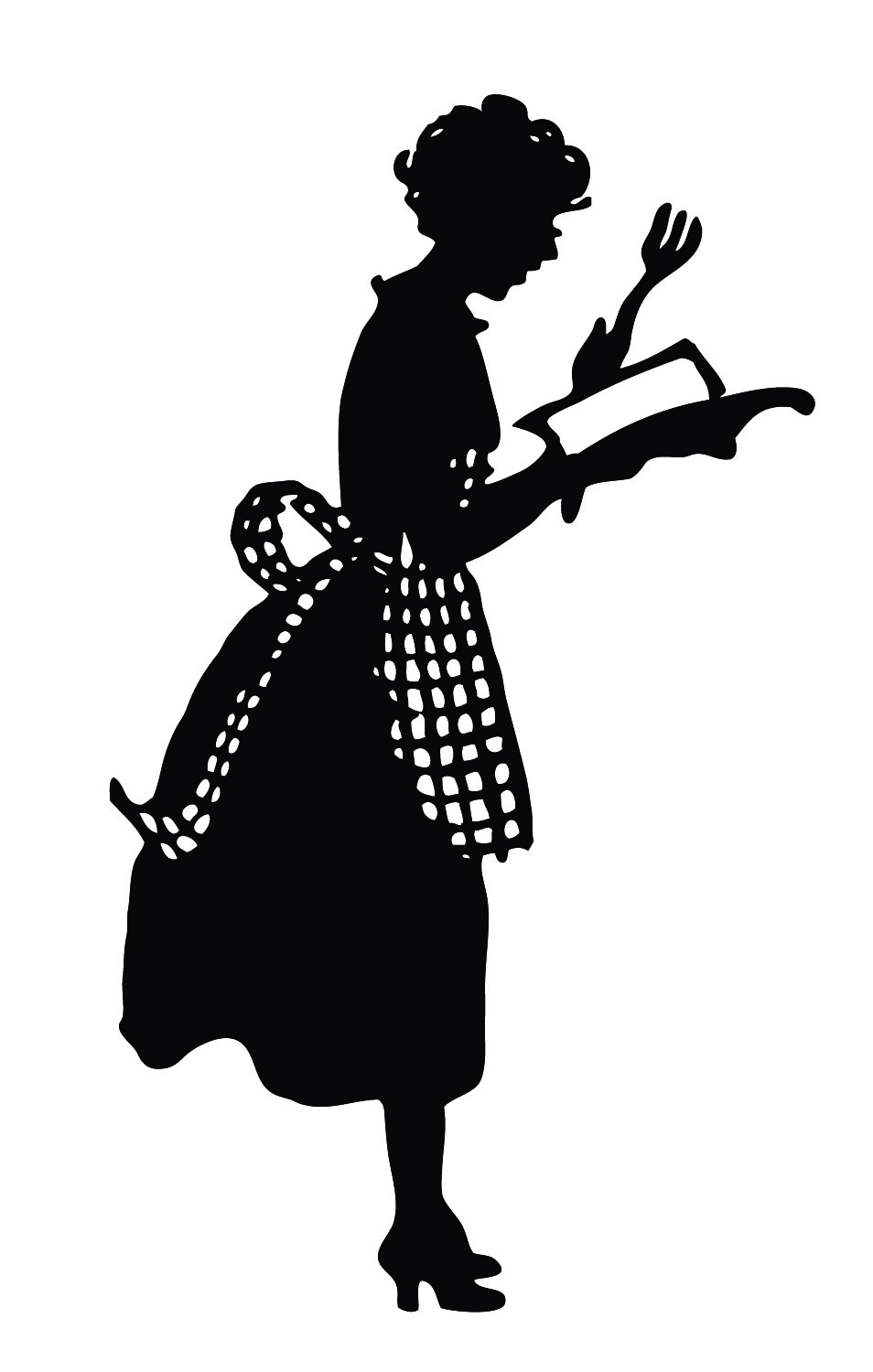 Vintage Silhouette   Cute Lady In Apron   The Graphics Fairy