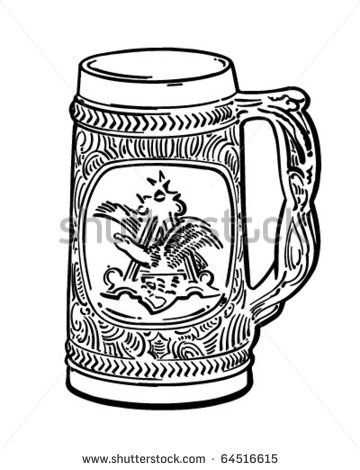 Beer Stein   Retro Clipart Illustration   Stock Vector