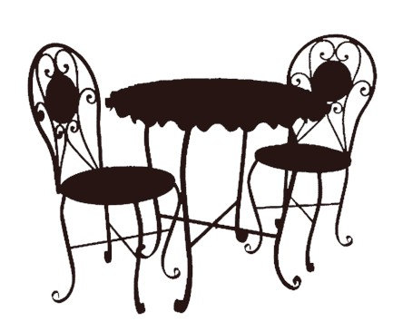 Bistro Cafe Furniture Set Black Clip Art Graphics Image Royalty Free
