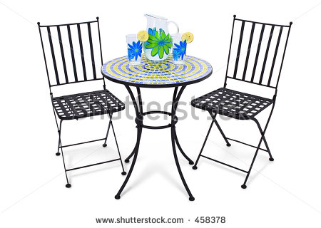 Bistro Table And Chairs Over White With Pitcher Of Lemonade And Two