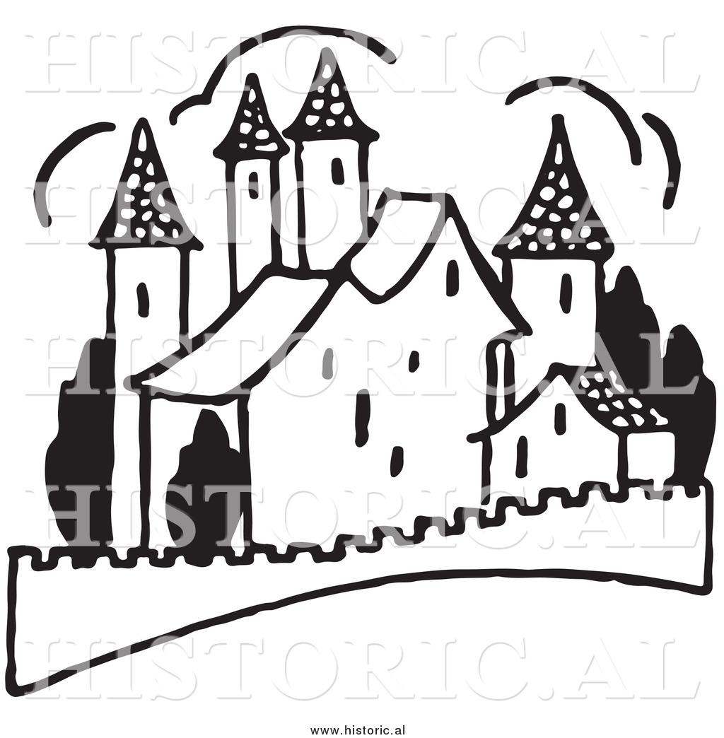 Black And White Castle Clipart   New Calendar Template Site