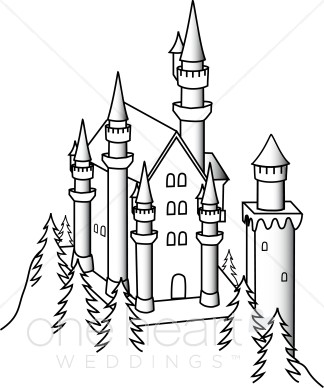 Black And White Illustration Of A Castle Surrounded By A Pine Trees