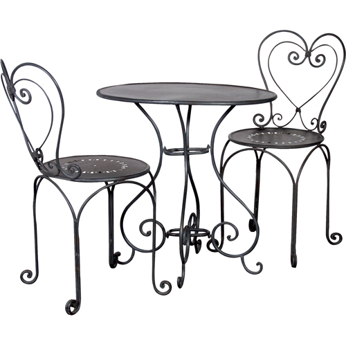 Black Metal Heart Shaped Bistro Table And Chairs Via Zebra Home Design