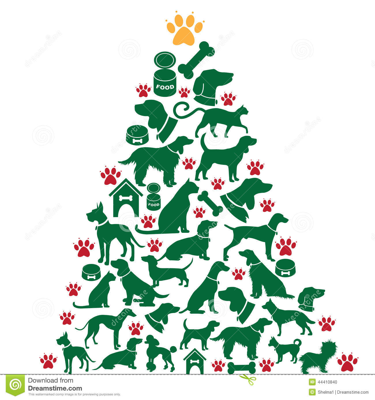 Cartoon Dogs And Cats Christmas Tree Stock Vector   Image  44410840
